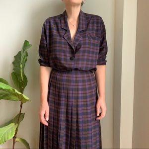 Vtg Skirt Set Serge Nantel Paris Pleated Plaid XL